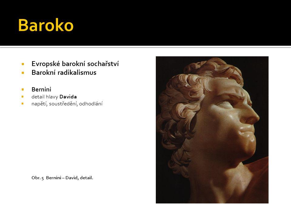  Evropské barokní sochařství  Barokní radikalismus  Bernini  detail hlavy Davida  napětí, soustředění, odhodlání Obr. 5 Bernini – David, detail.