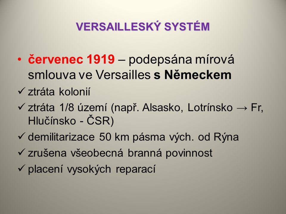 VERSAILLESKÝ SYSTÉM červenec 1919 – podepsána mírová smlouva ve Versailles s Německem ztráta kolonií ztráta 1/8 území (např.