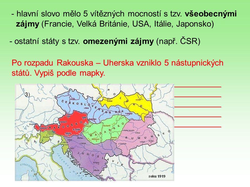 Zbylá území připadla Rumunsku a Itálii. Rumunsko bylo samostatné od r.1878. Itálie od r.1861. - hlavní slovo mělo 5 vítězných mocností s tzv. všeobecn