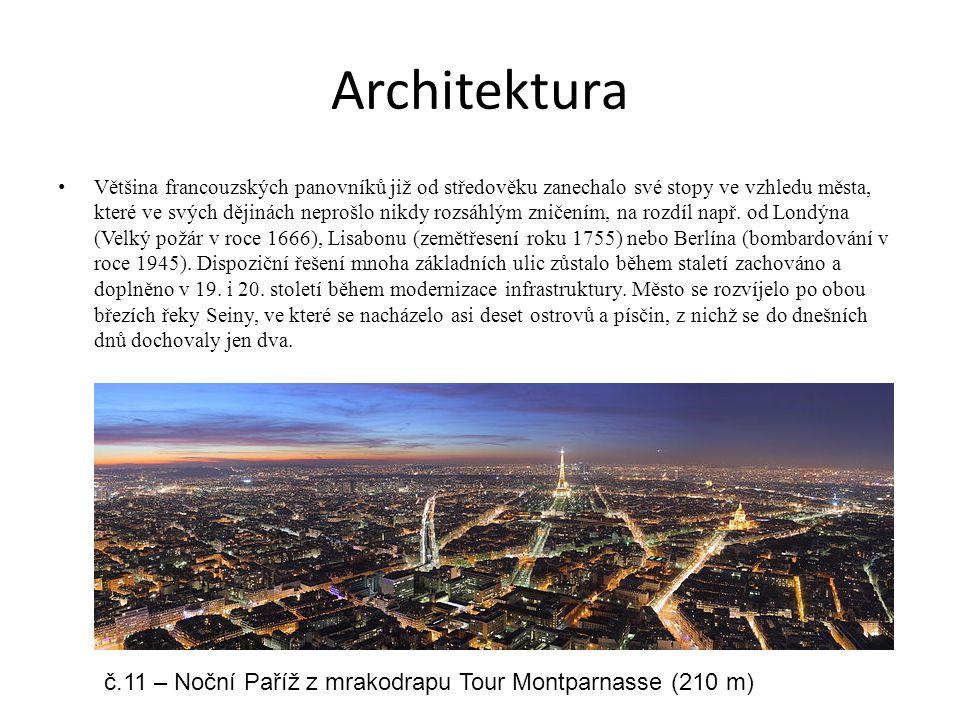 Architektura Většina francouzských panovníků již od středověku zanechalo své stopy ve vzhledu města, které ve svých dějinách neprošlo nikdy rozsáhlým