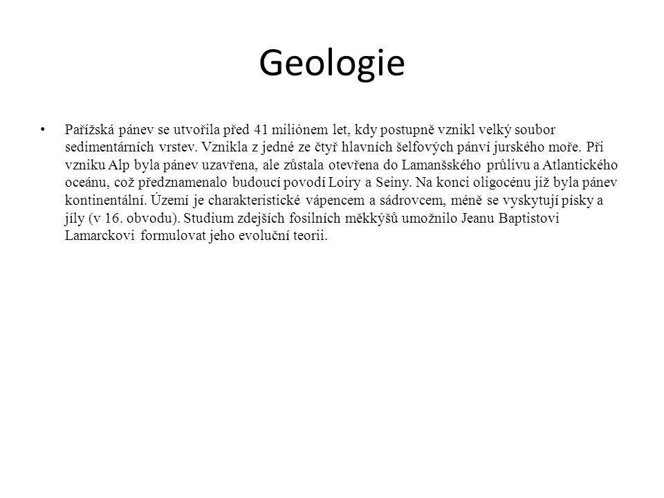 Geologie Pařížská pánev se utvořila před 41 miliónem let, kdy postupně vznikl velký soubor sedimentárních vrstev. Vznikla z jedné ze čtyř hlavních šel