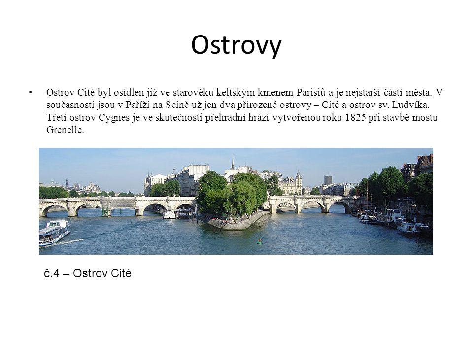 Ostrovy Ostrov Cité byl osídlen již ve starověku keltským kmenem Parisiů a je nejstarší částí města. V současnosti jsou v Paříži na Seině už jen dva p