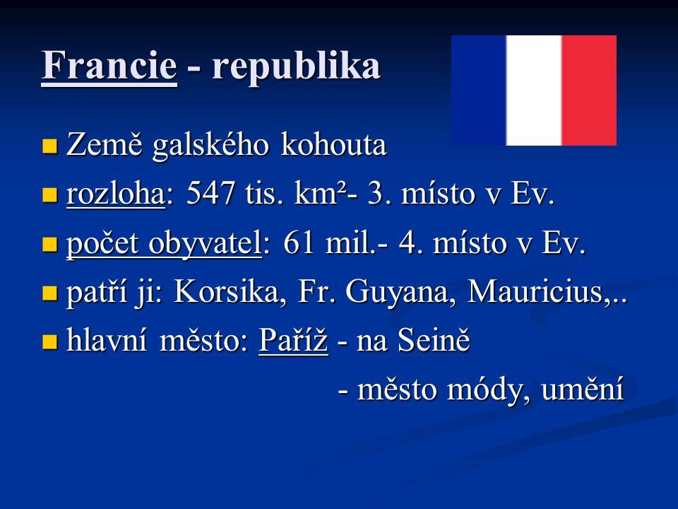 Francie - republika Země galského kohouta Země galského kohouta rozloha: 547 tis. km²- 3. místo v Ev. rozloha: 547 tis. km²- 3. místo v Ev. počet obyv