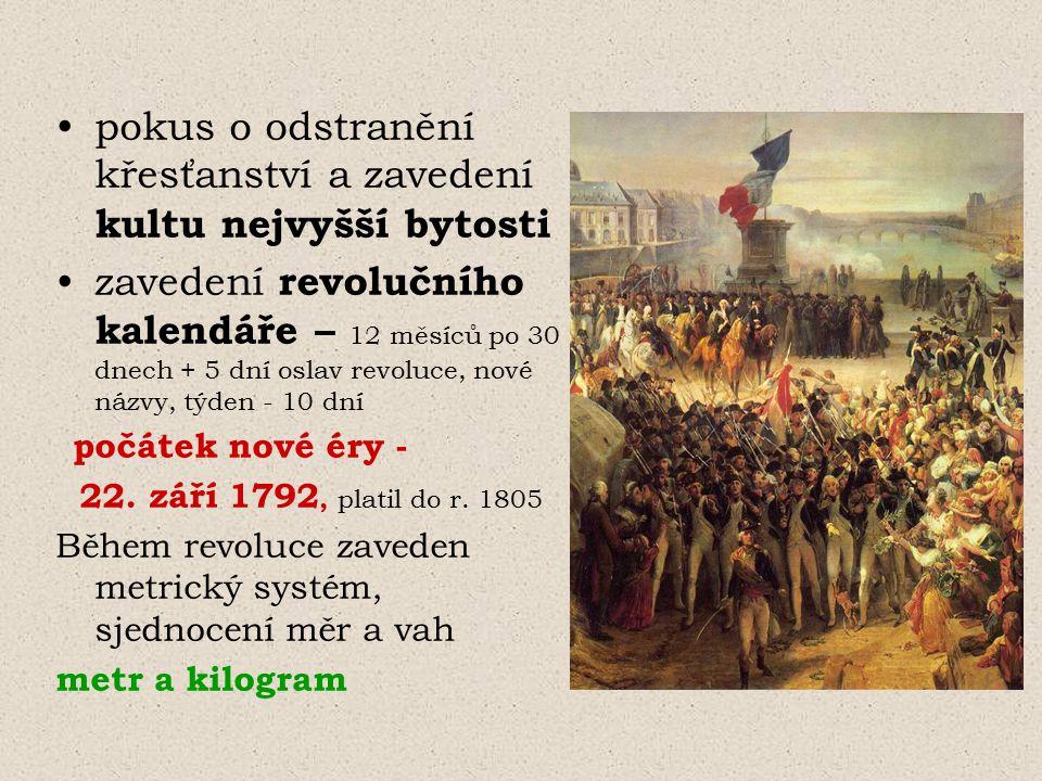 pokus o odstranění křesťanství a zavedení kultu nejvyšší bytosti zavedení revolučního kalendáře – 12 měsíců po 30 dnech + 5 dní oslav revoluce, nové n