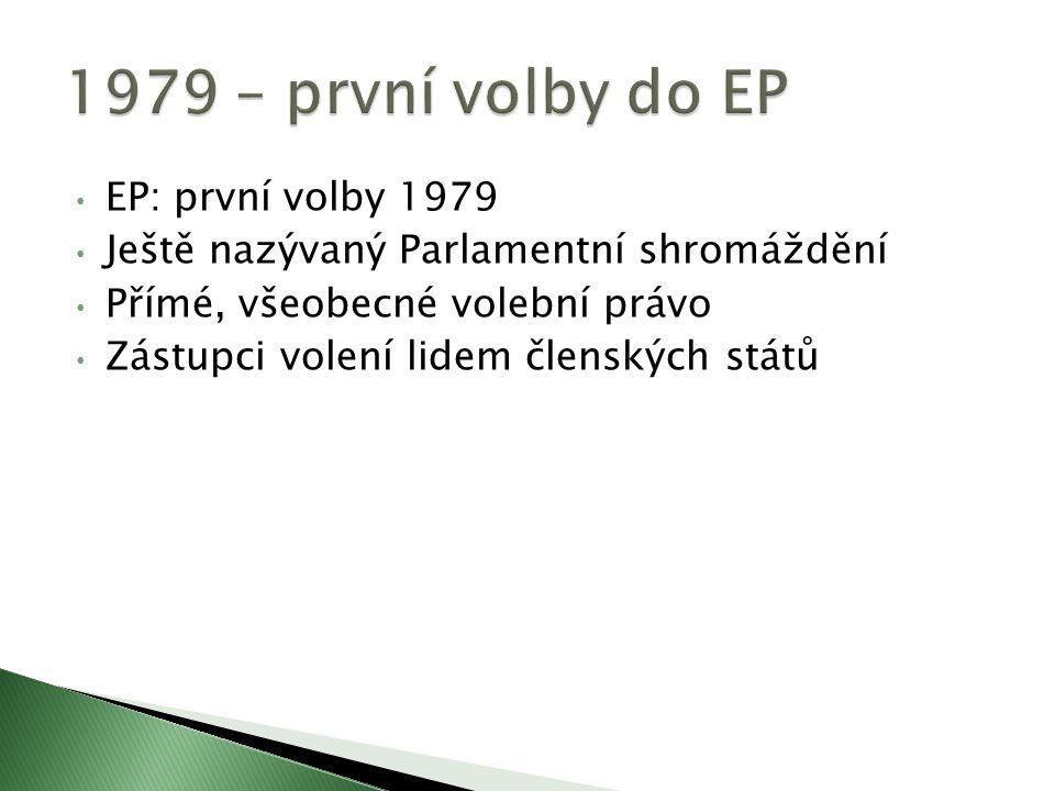 EP: první volby 1979 Ještě nazývaný Parlamentní shromáždění Přímé, všeobecné volební právo Zástupci volení lidem členských států