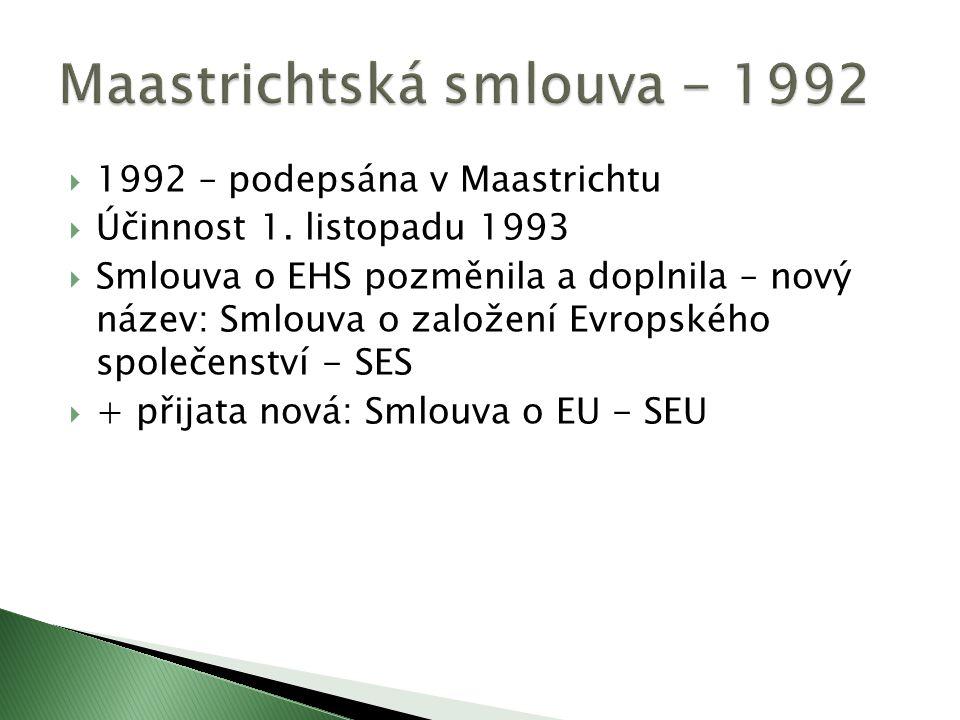  1992 – podepsána v Maastrichtu  Účinnost 1.