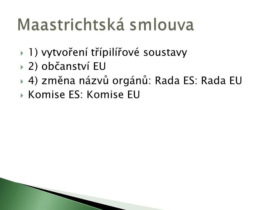  1) vytvoření třípilířové soustavy  2) občanství EU  4) změna názvů orgánů: Rada ES: Rada EU  Komise ES: Komise EU