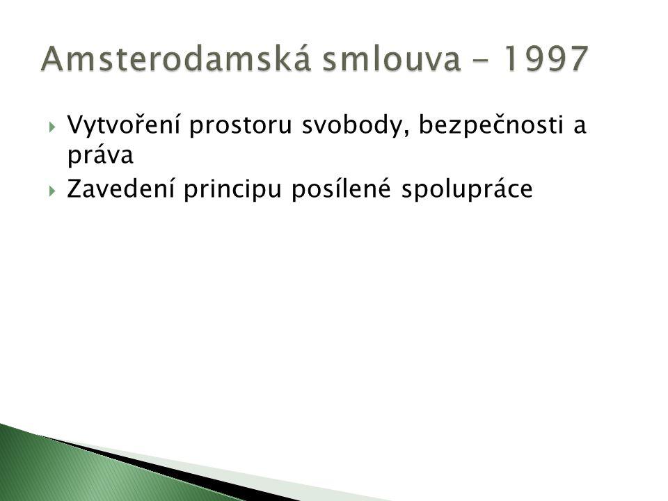  Vytvoření prostoru svobody, bezpečnosti a práva  Zavedení principu posílené spolupráce