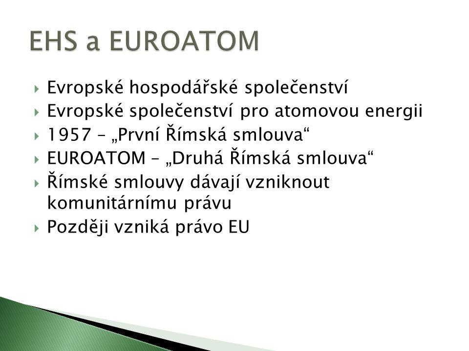 """ Evropské hospodářské společenství  Evropské společenství pro atomovou energii  1957 – """"První Římská smlouva  EUROATOM – """"Druhá Římská smlouva  Římské smlouvy dávají vzniknout komunitárnímu právu  Později vzniká právo EU"""