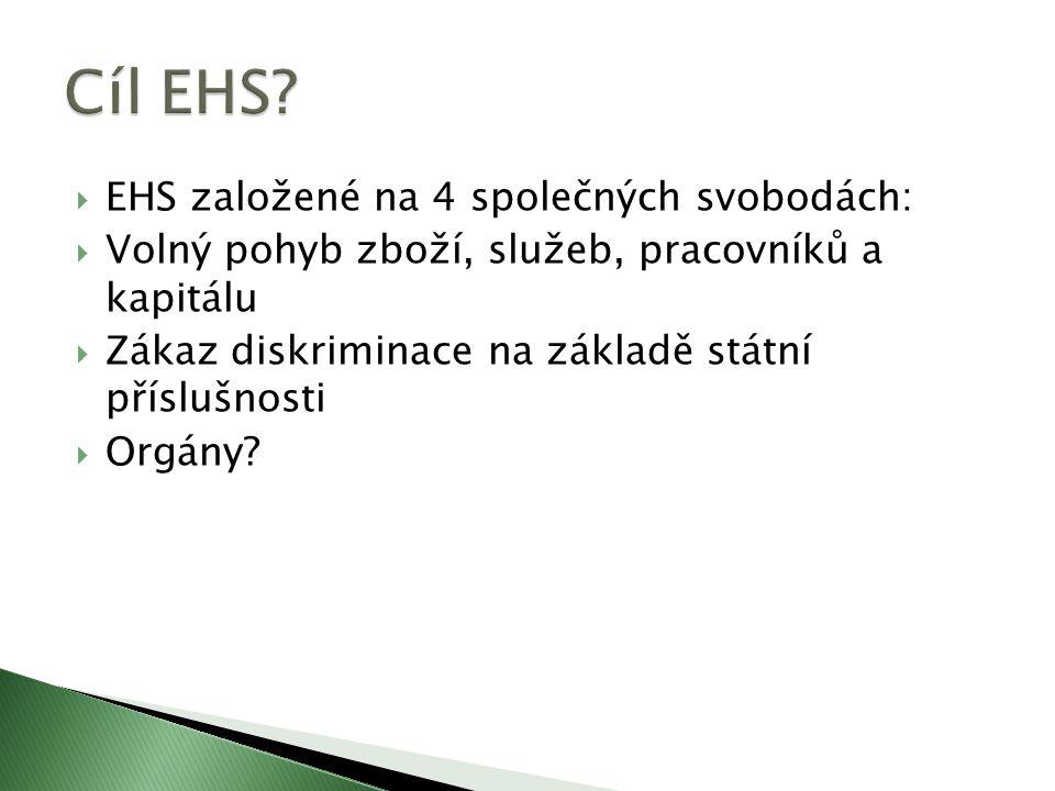  EHS založené na 4 společných svobodách:  Volný pohyb zboží, služeb, pracovníků a kapitálu  Zákaz diskriminace na základě státní příslušnosti  Orgány?