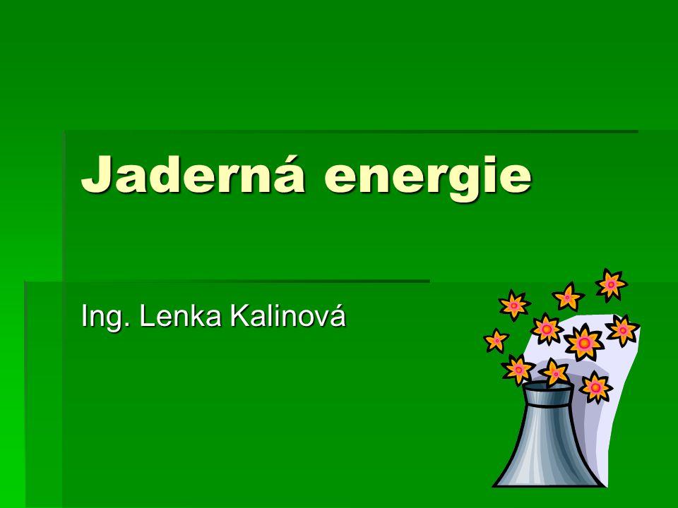 Jaderná energie Ing. Lenka Kalinová