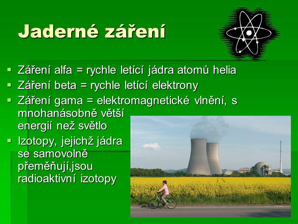Jaderné záření  Záření alfa = rychle letící jádra atomů helia  Záření beta = rychle letící elektrony  Záření gama = elektromagnetické vlnění, s mno