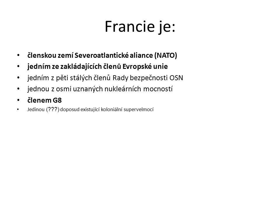 Francie je: členskou zemí Severoatlantické aliance (NATO) jedním ze zakládajících členů Evropské unie jedním z pěti stálých členů Rady bezpečnosti OSN jednou z osmi uznaných nukleárních mocností členem G8 Jedinou (???) doposud existující koloniální supervelmocí