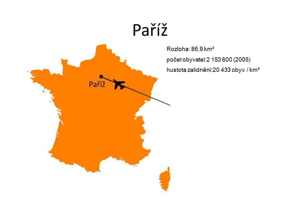 Paříž Rozloha: 86,9 km² počet obyvatel:2 153 600 (2005) hustota zalidnění:20 433 obyv. / km²