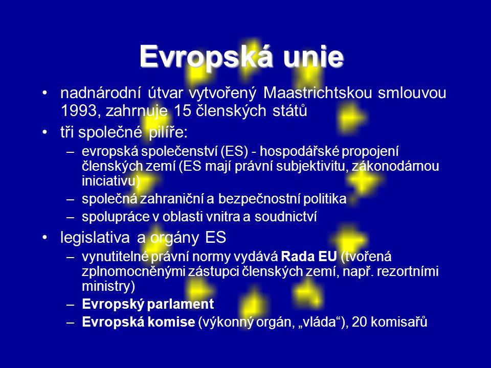 Evropská unie nadnárodní útvar vytvořený Maastrichtskou smlouvou 1993, zahrnuje 15 členských států tři společné pilíře: –evropská společenství (ES) -