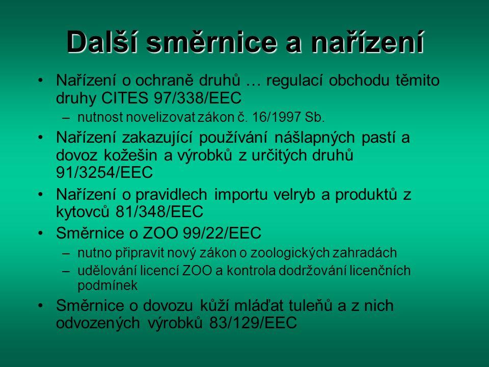 Další směrnice a nařízení Nařízení o ochraně druhů … regulací obchodu těmito druhy CITES 97/338/EEC –nutnost novelizovat zákon č. 16/1997 Sb. Nařízení