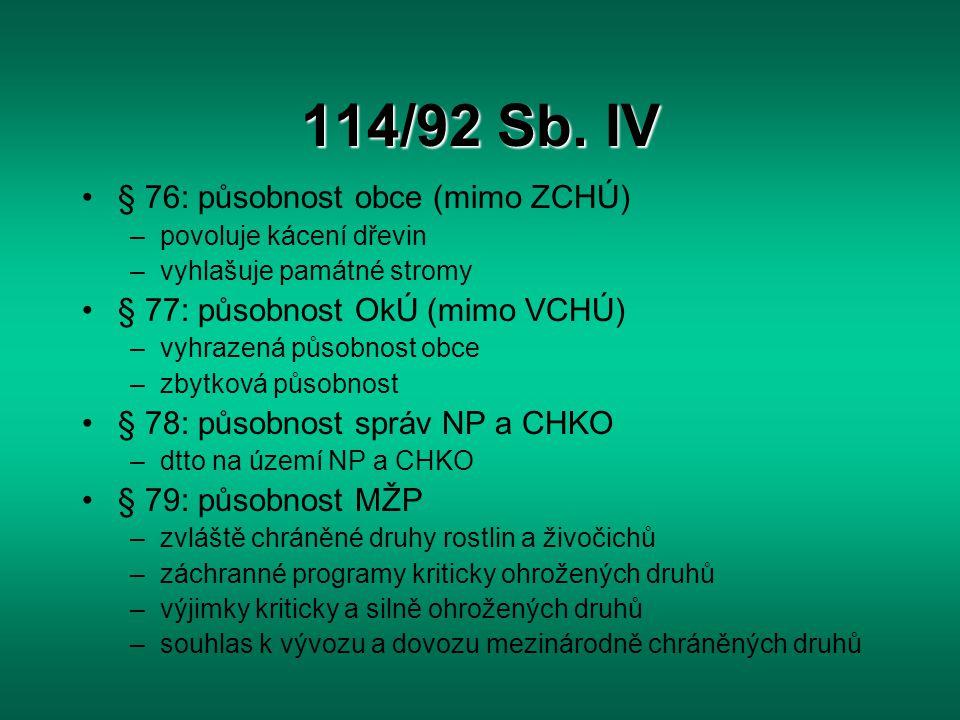 114/92 Sb. IV § 76: působnost obce (mimo ZCHÚ) –povoluje kácení dřevin –vyhlašuje památné stromy § 77: působnost OkÚ (mimo VCHÚ) –vyhrazená působnost