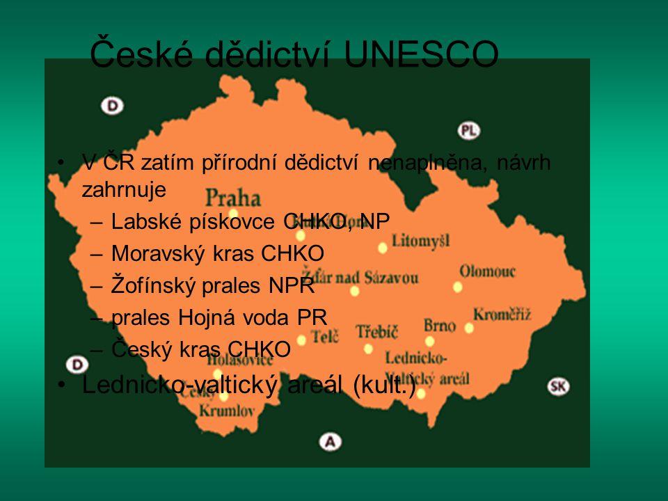 V ČR zatím přírodní dědictví nenaplněna, návrh zahrnuje –Labské pískovce CHKO, NP –Moravský kras CHKO –Žofínský prales NPR –prales Hojná voda PR –Česk