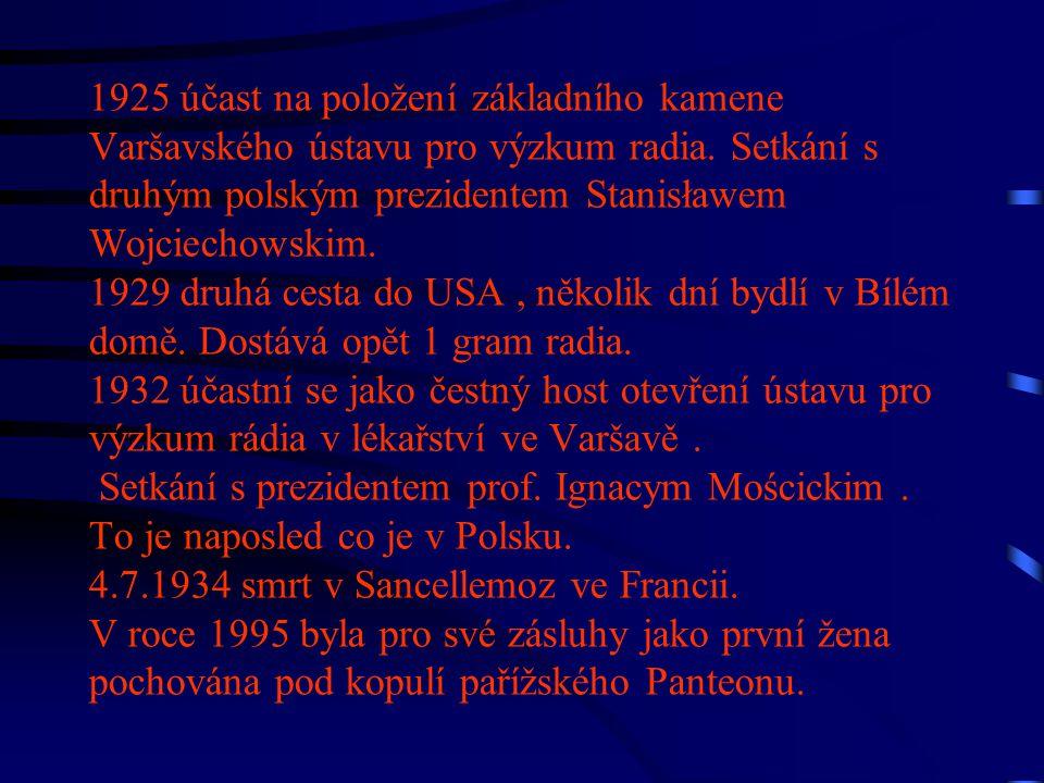 1925 účast na položení základního kamene Varšavského ústavu pro výzkum radia. Setkání s druhým polským prezidentem Stanisławem Wojciechowskim. 1929 dr
