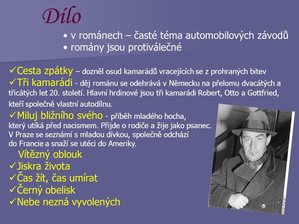 www.remarque.uos.de/0144.jpg  1925 poprvé ženatý (7 let)  1931 přestěhování do Švýcarska  nominace na Nobelovu cenu míru  1933 (nástup nacismu) na