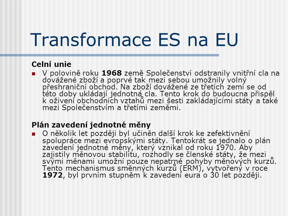 Transformace ES na EU Celní unie V polovině roku 1968 země Společenství odstranily vnitřní cla na dovážené zboží a poprvé tak mezi sebou umožnily voln