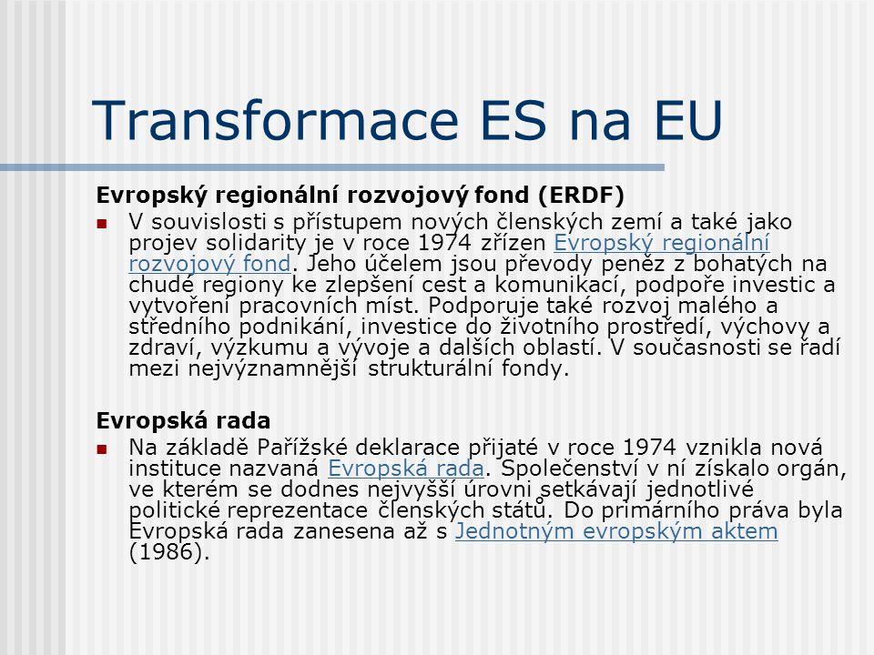 Transformace ES na EU Evropský regionální rozvojový fond (ERDF) V souvislosti s přístupem nových členských zemí a také jako projev solidarity je v roc
