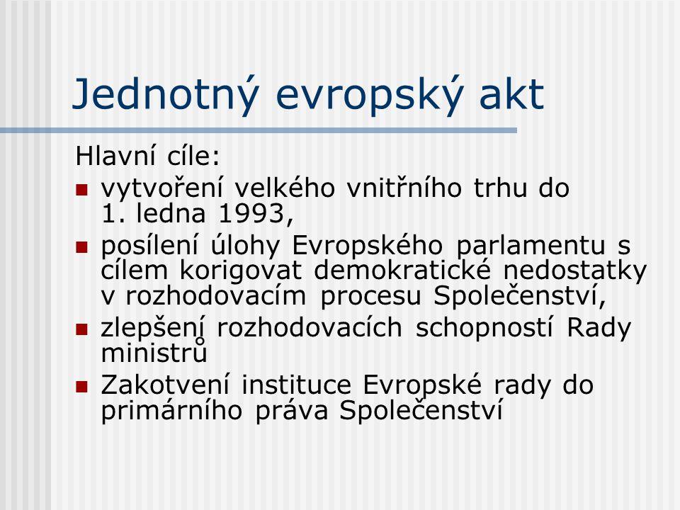 Jednotný evropský akt Hlavní cíle: vytvoření velkého vnitřního trhu do 1. ledna 1993, posílení úlohy Evropského parlamentu s cílem korigovat demokrati