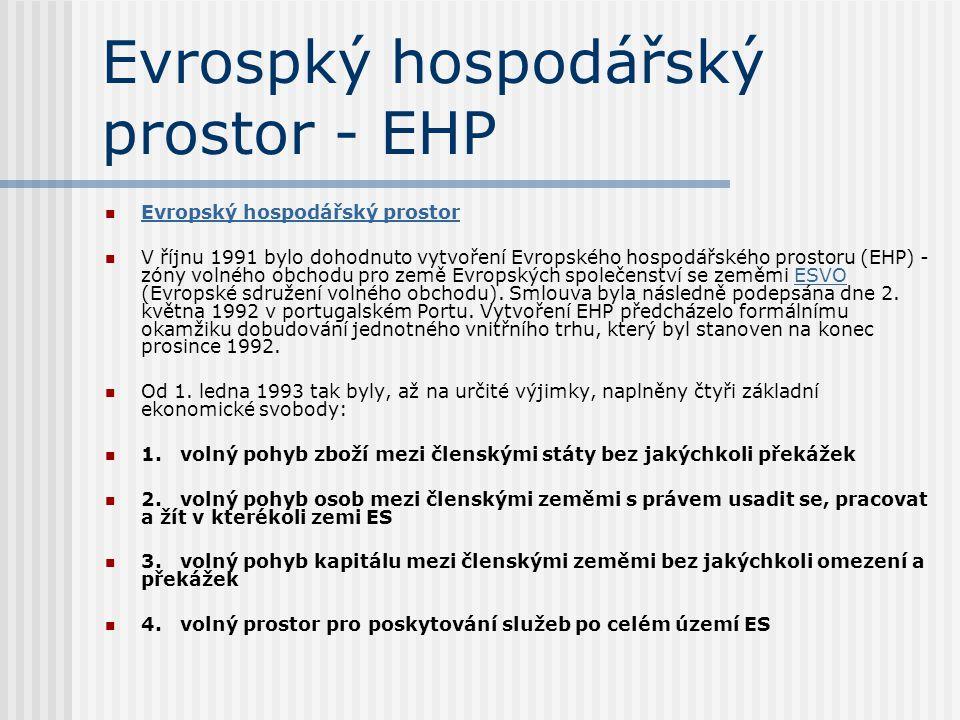 Evrospký hospodářský prostor - EHP Evropský hospodářský prostor V říjnu 1991 bylo dohodnuto vytvoření Evropského hospodářského prostoru (EHP) - zóny v
