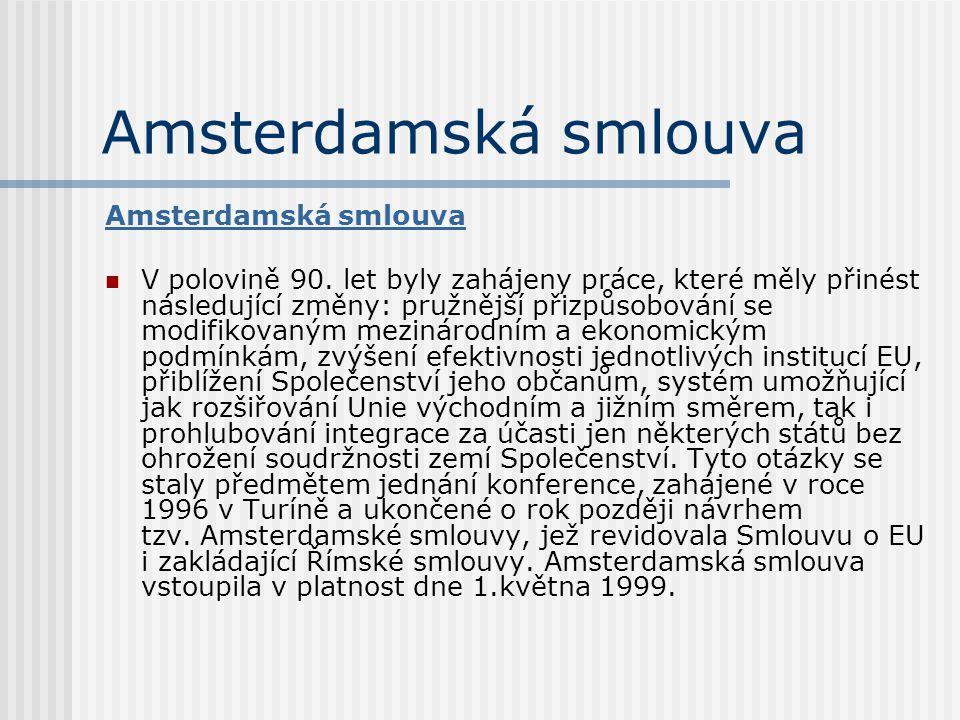 Amsterdamská smlouva V polovině 90. let byly zahájeny práce, které měly přinést následující změny: pružnější přizpůsobování se modifikovaným mezinárod