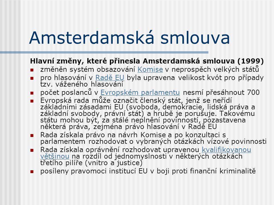 Amsterdamská smlouva Hlavní změny, které přinesla Amsterdamská smlouva (1999) změněn systém obsazování Komise v neprospěch velkých státůKomise pro hla