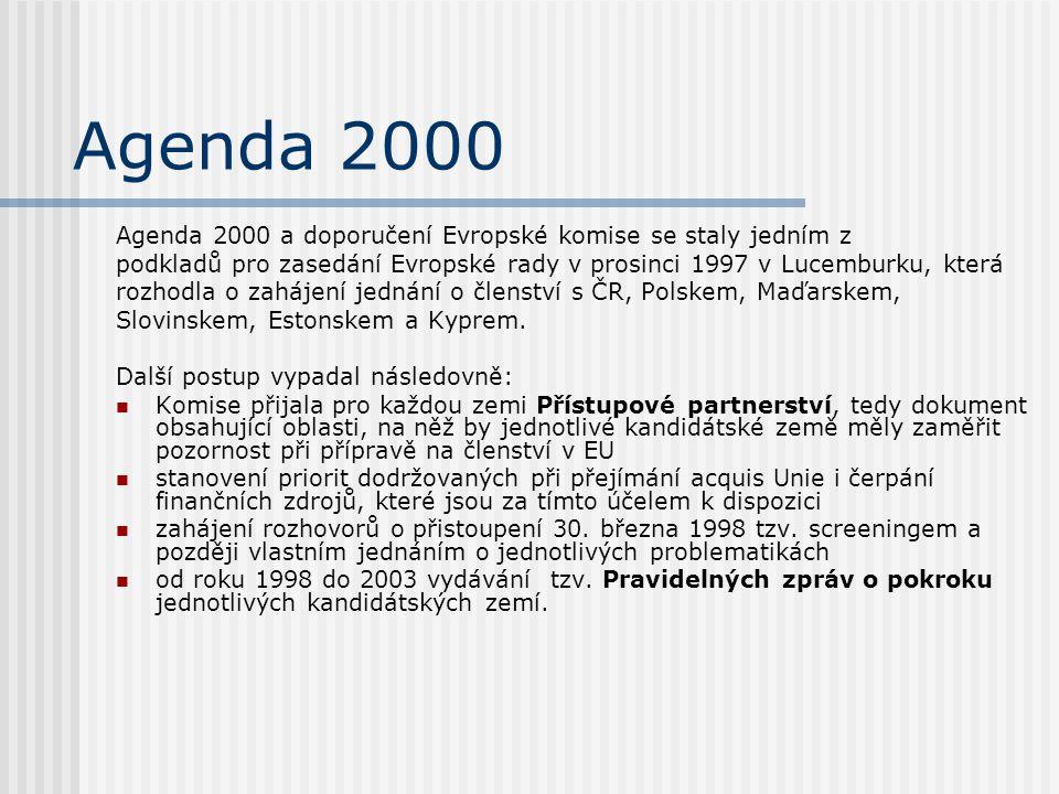 Agenda 2000 Agenda 2000 a doporučení Evropské komise se staly jedním z podkladů pro zasedání Evropské rady v prosinci 1997 v Lucemburku, která rozhodl