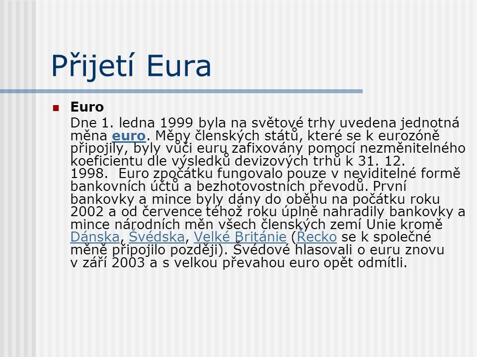 Přijetí Eura Euro Dne 1. ledna 1999 byla na světové trhy uvedena jednotná měna euro. Měny členských států, které se k eurozóně připojily, byly vůči eu