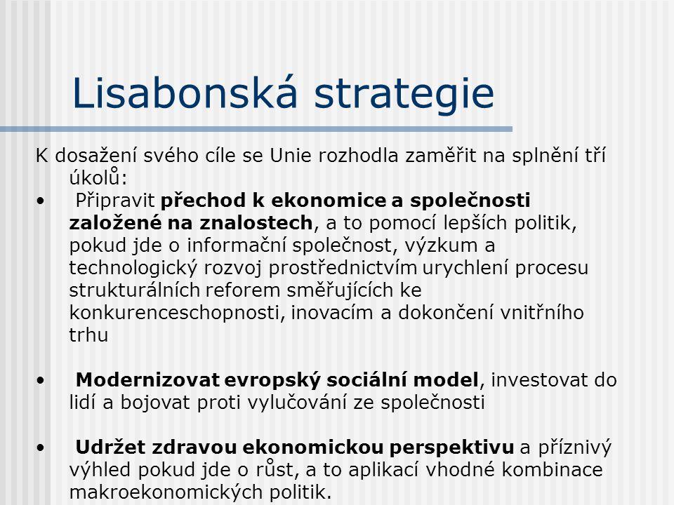 Lisabonská strategie Lisabonská strategie představuje scénář pro komplexní hospodářskou, sociální a ekologickou (enviromentální) obnovu Evropské unie.