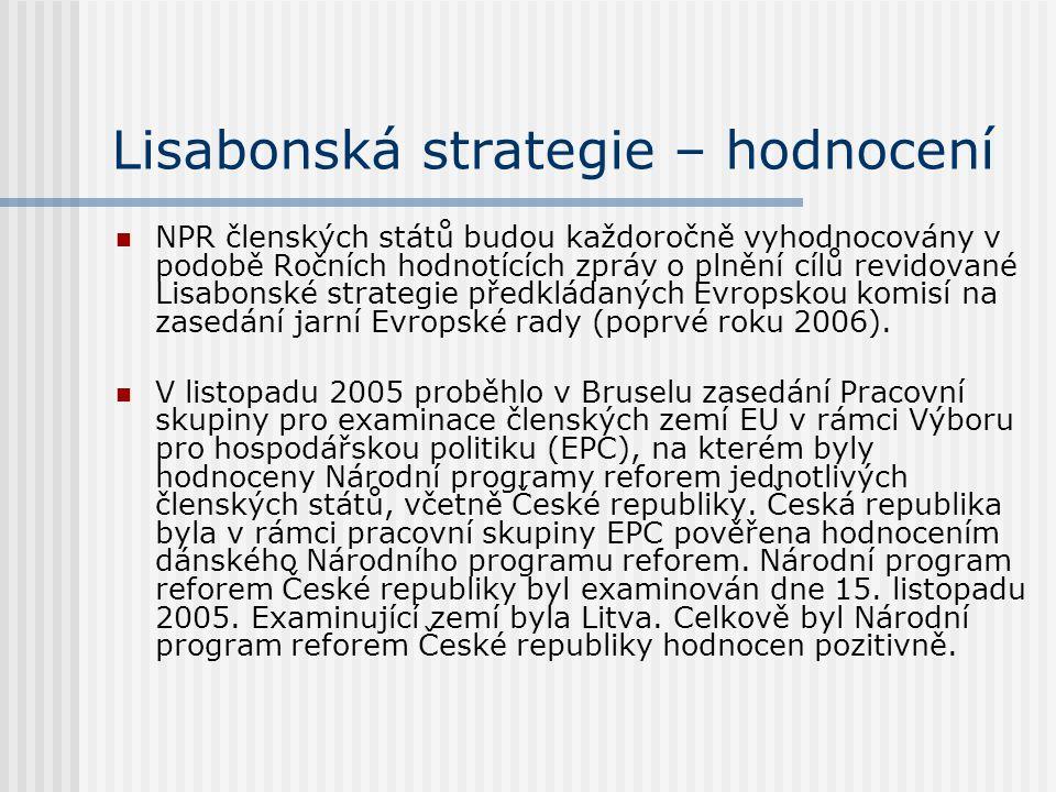 Lisabonská strategie – hodnocení NPR členských států budou každoročně vyhodnocovány v podobě Ročních hodnotících zpráv o plnění cílů revidované Lisabo