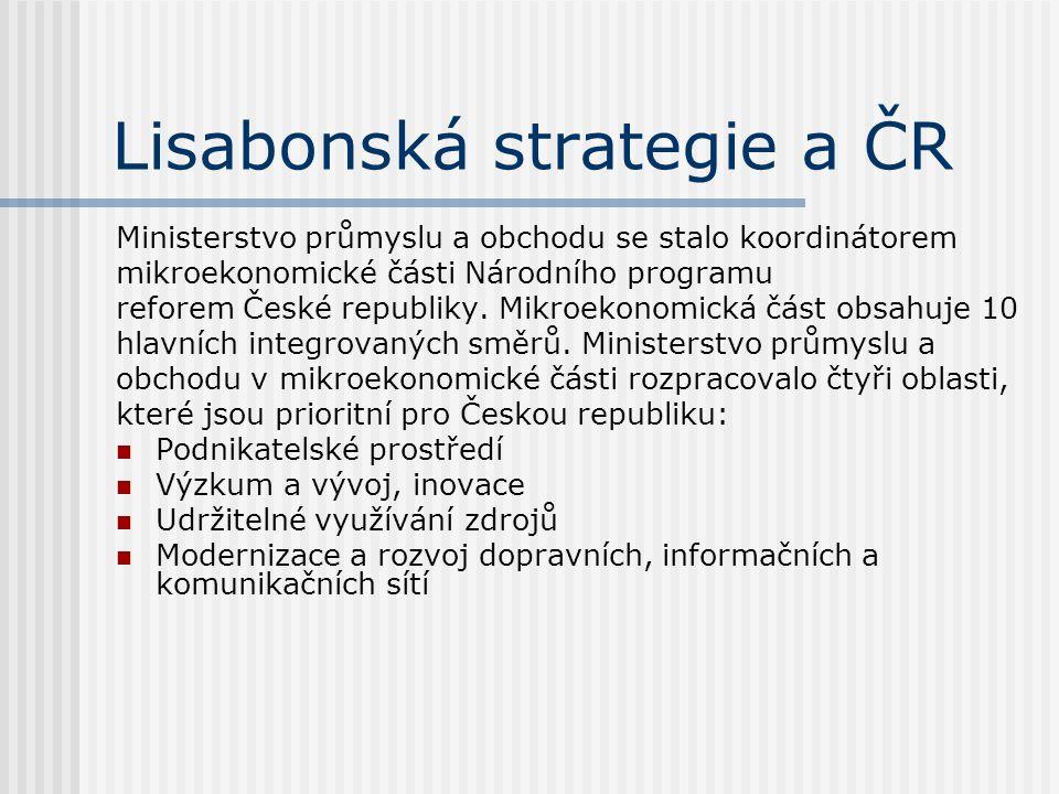 Lisabonská strategie a ČR Ministerstvo průmyslu a obchodu se stalo koordinátorem mikroekonomické části Národního programu reforem České republiky. Mik
