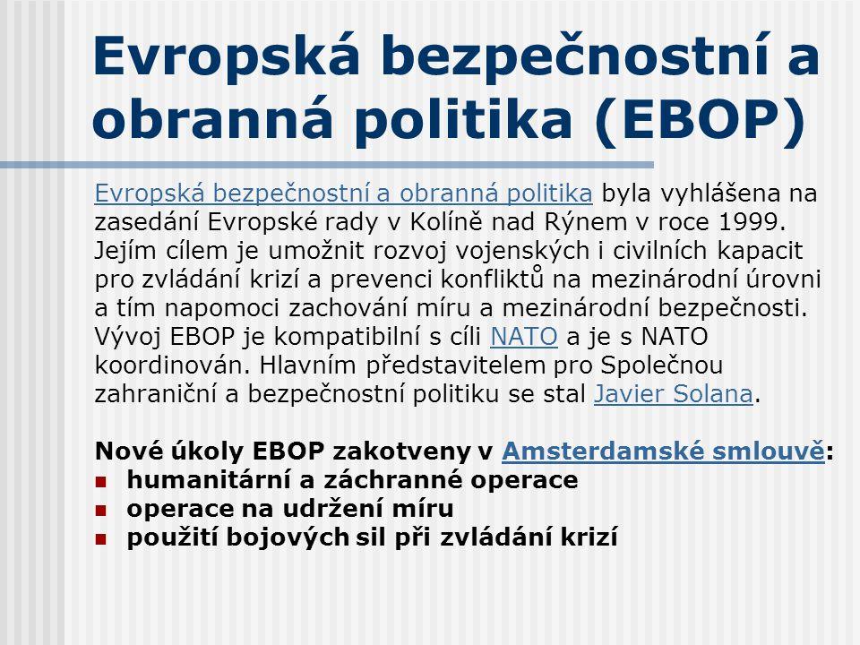 Evropská bezpečnostní a obranná politika (EBOP) Evropská bezpečnostní a obranná politikaEvropská bezpečnostní a obranná politika byla vyhlášena na zas