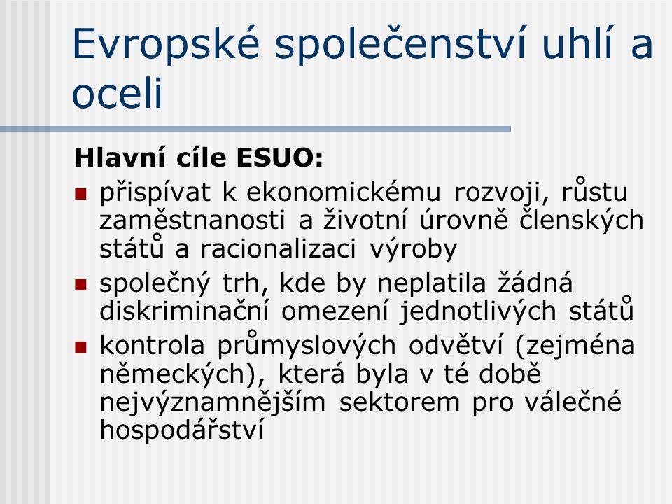Evropské společenství uhlí a oceli Hlavní cíle ESUO: přispívat k ekonomickému rozvoji, růstu zaměstnanosti a životní úrovně členských států a racional