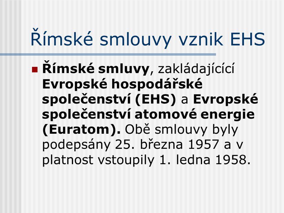 Římské smlouvy vznik EHS Římské smluvy, zakládajícící Evropské hospodářské společenství (EHS) a Evropské společenství atomové energie (Euratom). Obě s