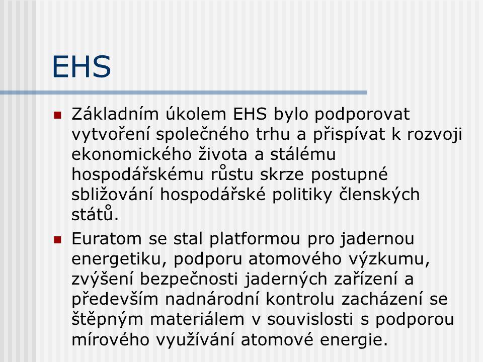 EHS Základním úkolem EHS bylo podporovat vytvoření společného trhu a přispívat k rozvoji ekonomického života a stálému hospodářskému růstu skrze postu