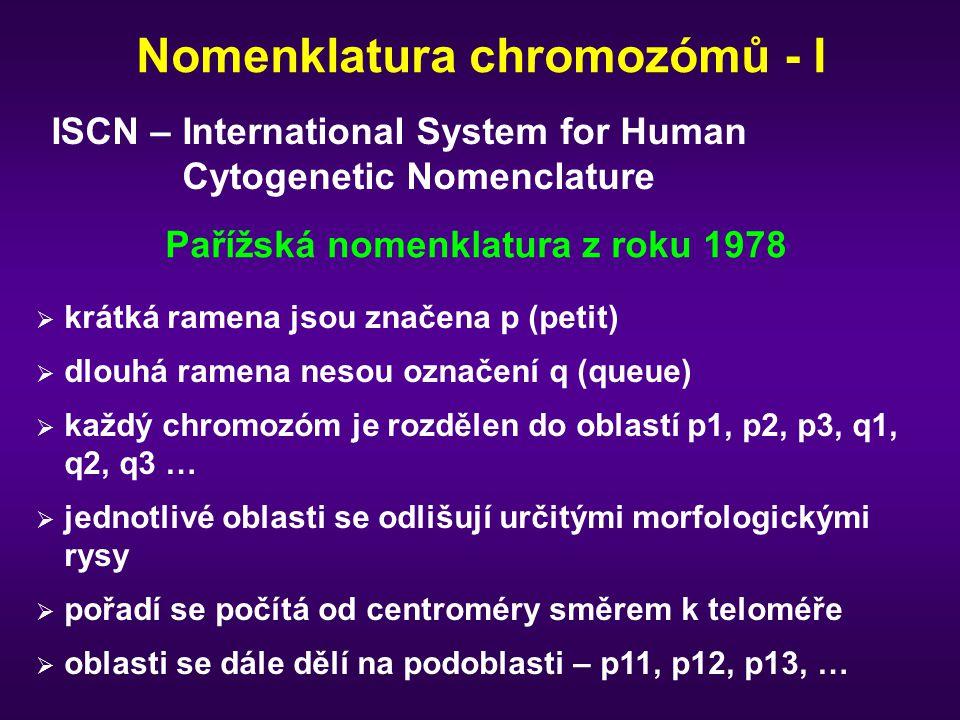 Nomenklatura chromozómů - I Pařížská nomenklatura z roku 1978  krátká ramena jsou značena p (petit)  dlouhá ramena nesou označení q (queue)  každý