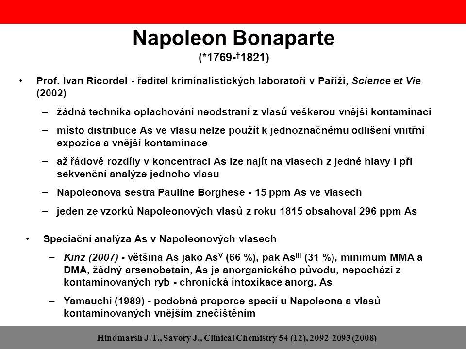 Napoleon Bonaparte (*1769- † 1821) Prof. Ivan Ricordel - ředitel kriminalistických laboratoří v Paříži, Science et Vie (2002) –žádná technika oplachov