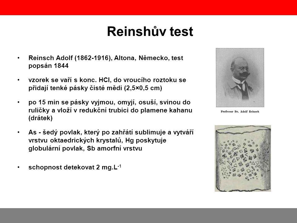 Reinshův test Reinsch Adolf (1862-1916), Altona, Německo, test popsán 1844 vzorek se vaří s konc. HCl, do vroucího roztoku se přidají tenké pásky čist