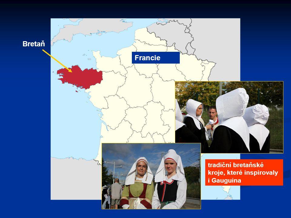 Francie Bretaň tradiční bretaňské kroje, které inspirovaly i Gauguina