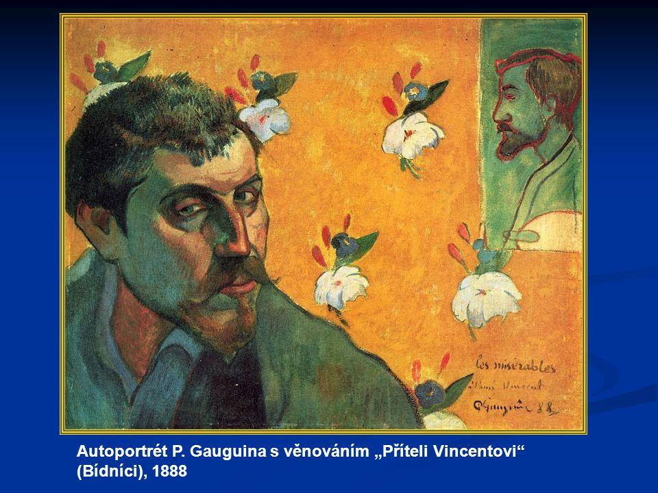 """Autoportrét P. Gauguina s věnováním """"Příteli Vincentovi"""" (Bídníci), 1888"""