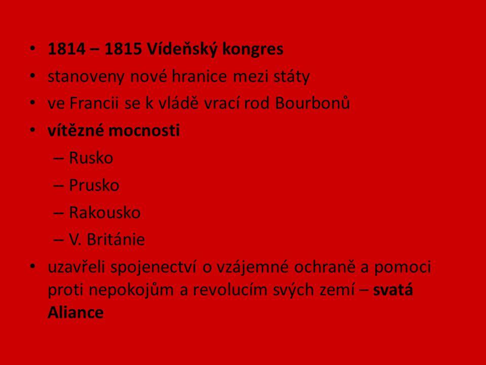 1814 – 1815 Vídeňský kongres stanoveny nové hranice mezi státy ve Francii se k vládě vrací rod Bourbonů vítězné mocnosti – Rusko – Prusko – Rakousko –
