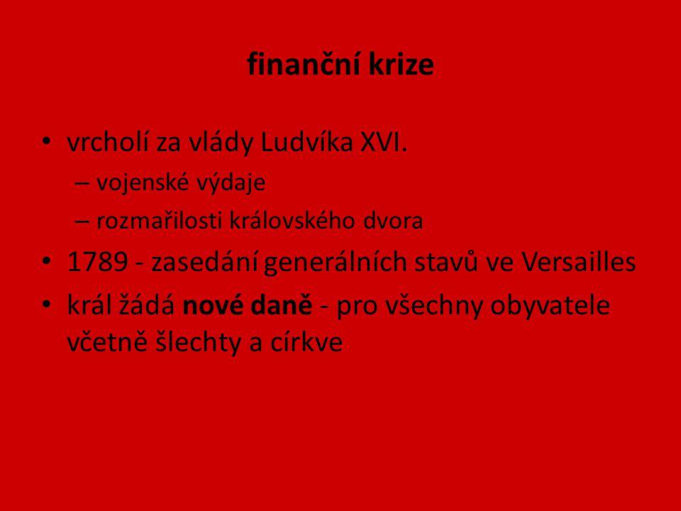finanční krize vrcholí za vlády Ludvíka XVI. – vojenské výdaje – rozmařilosti královského dvora 1789 - zasedání generálních stavů ve Versailles král ž