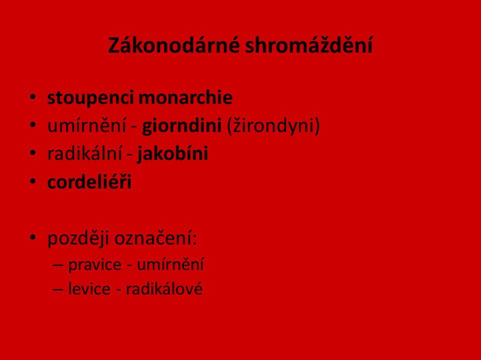 Zákonodárné shromáždění stoupenci monarchie umírnění - giorndini (žirondyni) radikální - jakobíni cordeliéři později označení: – pravice - umírnění –