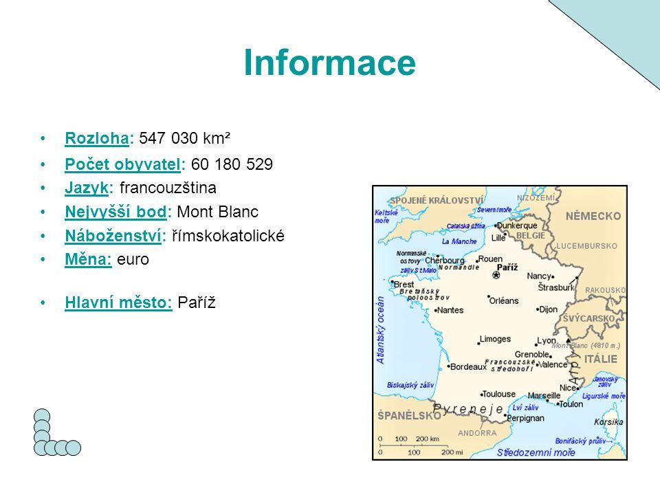 Informace Rozloha: 547 030 km²Rozloha Počet obyvatel: 60 180 529Počet obyvatel Jazyk: francouzštinaJazyk Nejvyšší bod: Mont BlancNejvyšší bod Nábožens
