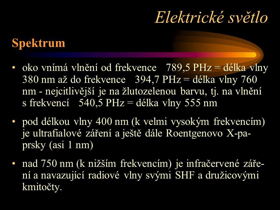 Spektrum oko vnímá vlnění od frekvence 789,5 PHz = délka vlny 380 nm až do frekvence 394,7 PHz = délka vlny 760 nm - nejcitlivější je na žlutozelenou barvu, tj.