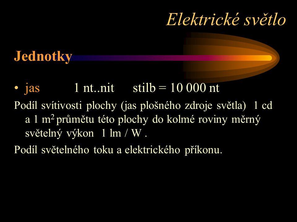 Jednotky jas1 nt..nitstilb = 10 000 nt Podíl svítivosti plochy (jas plošného zdroje světla) 1 cd a 1 m 2 průmětu této plochy do kolmé roviny měrný světelný výkon 1 lm / W.